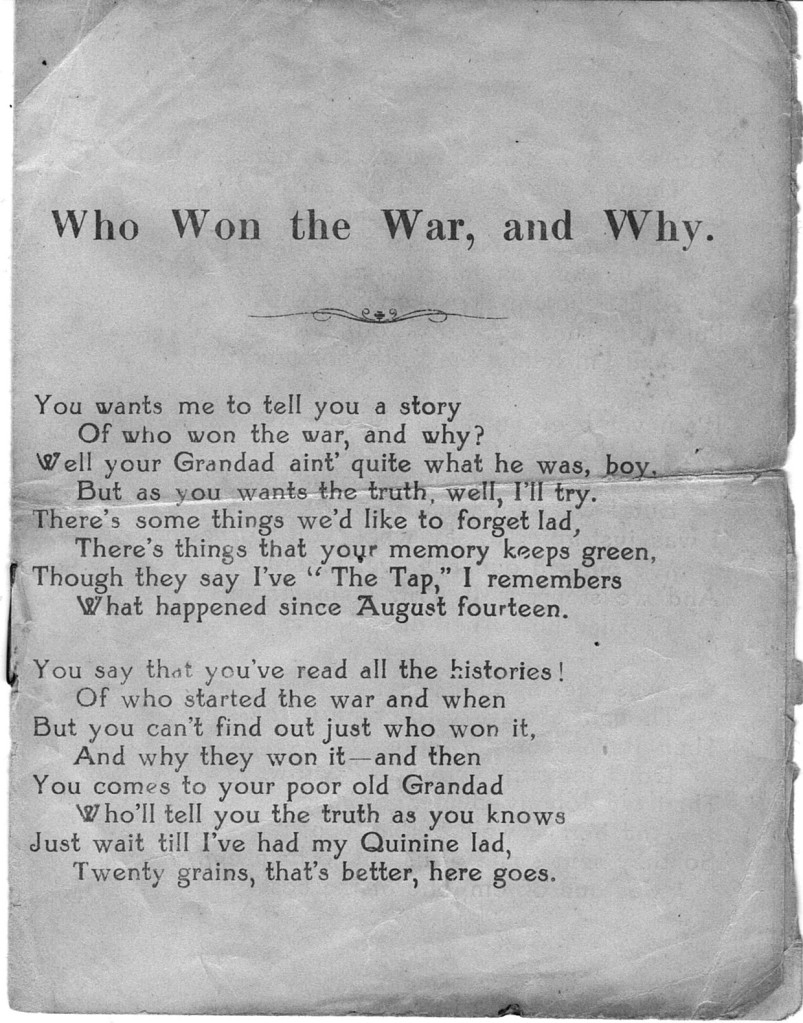 """Humorous Musical Monologue - """"Who Won The War, And Why!!"""" Salonika, 1918. From the collection of Kelvin Dakin."""