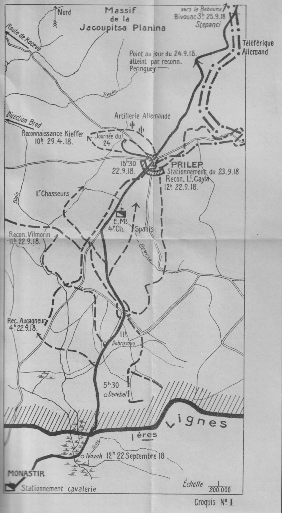 A map showing the advance of the Brigade Jouinot-Gambetta from the front line to the Babuna Pass, 22-25 September 1918.