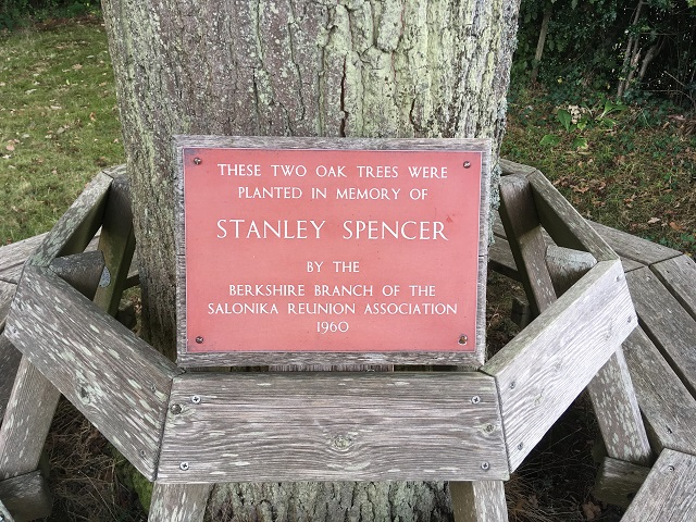 A photo of the Stanley Spencer commemorative plaque, after restoration. By Paul Grist of Sandham memorial Chapel.