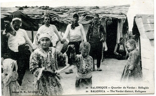 A French published postcard showing refugees in the Vardar district of Salonika. From the collection of Kate and Martin Wills.