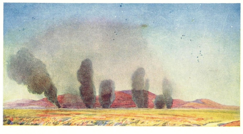 A watercolour from 1917 by W T Wood RWS, entitled: Hostile air raid on the British 12th Corps Headquarters.