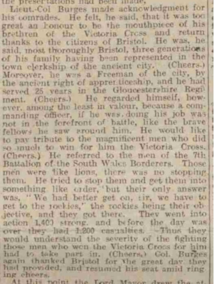 Speech of Lt-Col. Dan Burges VC at the Colston Hall Ceremony to honour Bristolian heroes of WW1 in February 1919. As reported in the Western Daily Press, 17 February 1919.
