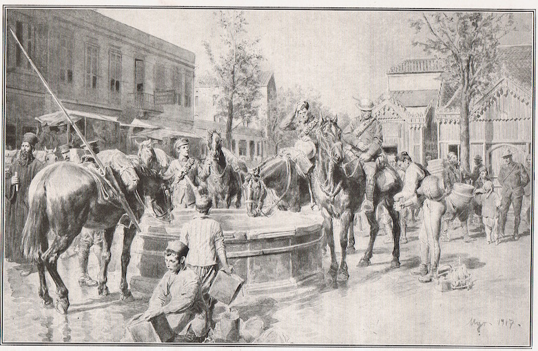 Water for man and beast: a typical scene in Salonika. An illustration dated 1917 from one of the many part works of the period, showing British Yeomanry watering their horses at a fountain in the city.