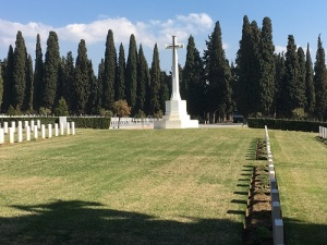 The Cross of Sacrifice at the Commonwealth War Graves Commission section of the Salonika (Lembet Road) Military Cemetery. Photograph taken by Lynsey Ball, 4th March 2017.