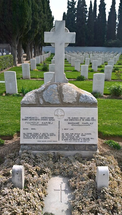 The grave of Lady Harley in the Salonika (Lembet Road) Military Cemetery. Photograph by Robin Braysher, April 2016.