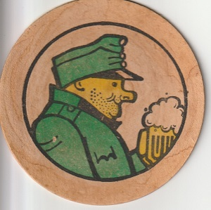 "A beer mat from ""U Kalicha"", the local of 'The Good Soldier Švejk', comic creation of Czech author Jaroslav Hašek (1883-1923), as drawn by Josef Lada."