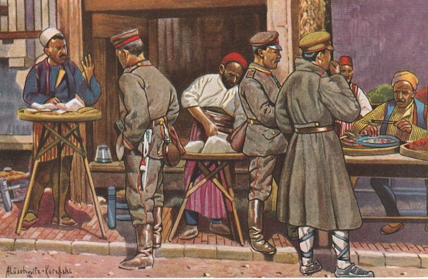 Colour German postcard showing German and Bulgarian soldiers at Skopje's market.