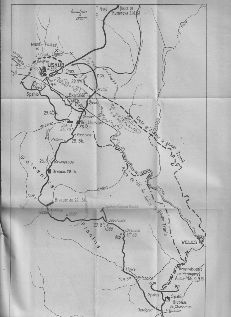 A map showing the continuation of the advance of the Brigade Jouinot-Gambetta to Uskub (Skopje), 25-29 September 1918.
