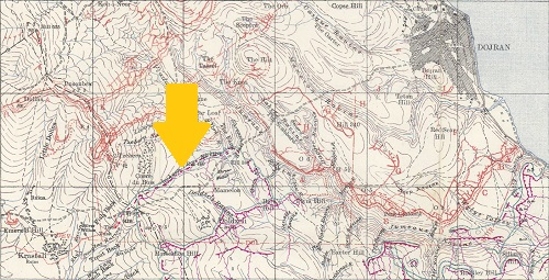 Extract from a British 1:20,000 trench map of July 1917 showing the Doiran battlefield. From the SCS Trench Map DVD.