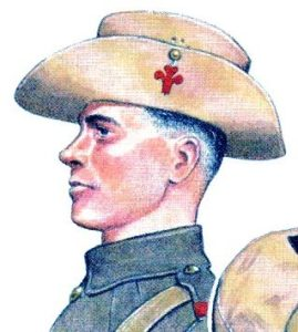 An illustration by Mike Chappell of a soldier of 1/Welsh wearing a slouch hat with a cloth Prince of Wales' plumes badge.