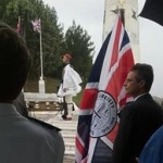 SCS tour photo - the SCS flag at the annual commemorations in northern Greece.