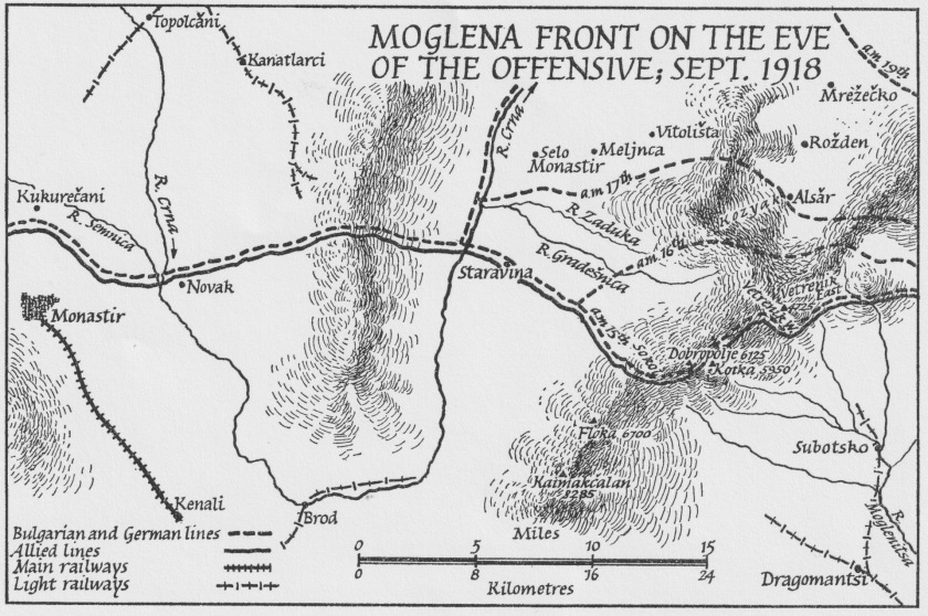 Moglena Front on the Eve of the Offensive, Sept. 1918; from Alan Palmer's 'The Gardeners of Salonika' (Andre Deutsch, 1965).