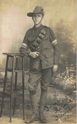 A fine studio portrait of a young Signaller: 'Yours sincerely, Harold, Salonica 17.5.16'. There is no message on the reverse.