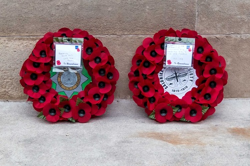 Two wreaths laid by members of the SCS at the Cenotaph, Whitehall, on Saturday, 7th October 2017. Photo by Keith Edmonds.