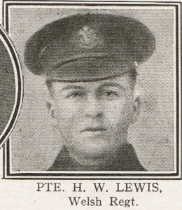 Photograph of Pte Hubert ['Stokey'] William Lewis VC, reproduced from 'Heroes of the Victoria Cross', Chapter CCXXVI of 'The Great War' (Volume 10, page 616).