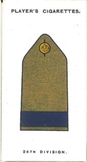 Player's Cigarettes card of the 'battle insignia' of 26th Division. This was narrow, dark blue braid on the shoulder strap.