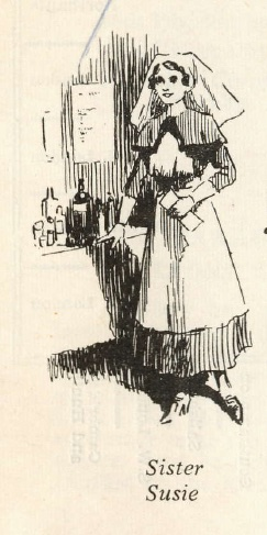 A sketch of a British nurse in Salonika by F. L. Mills, entitled 'Sister Susie'.